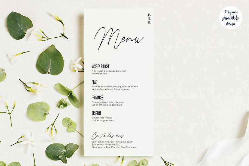 Menu mariage - Collection modernité - Fichier numérique