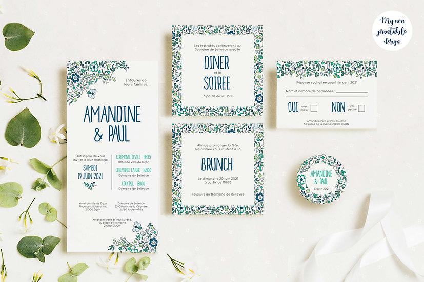 Pack faire-part de mariage - Collection liberty - Fichier numérique