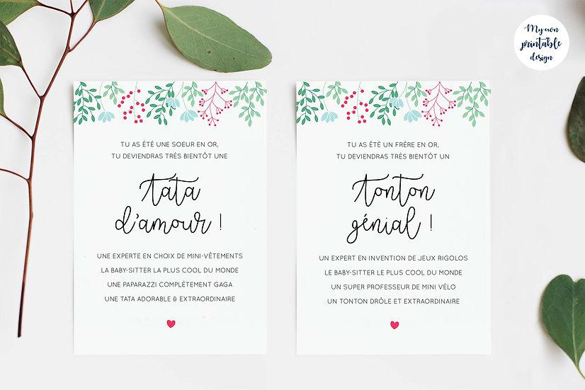 Duo cartes tata et tonton - Collection printemps - Fichier numérique