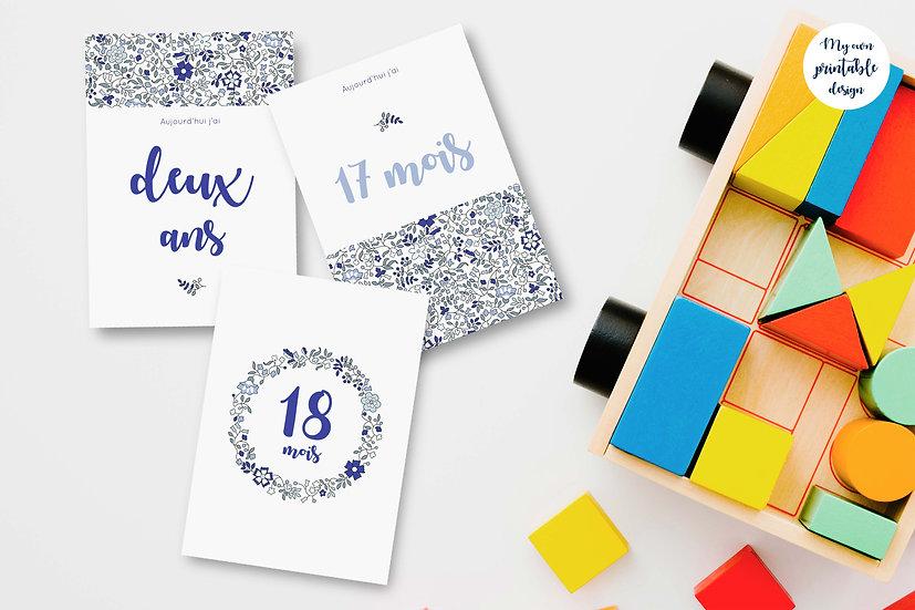 18 cartes étapes bébé 2ème année - Collection Liberty bleu - Fichier numérique