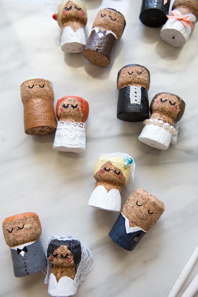DIY Cake topper mariage à partir de bouchon de champagne en liège