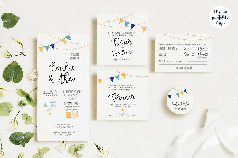 Pack faire-part de mariage - Collection guinguette - Fichier numérique