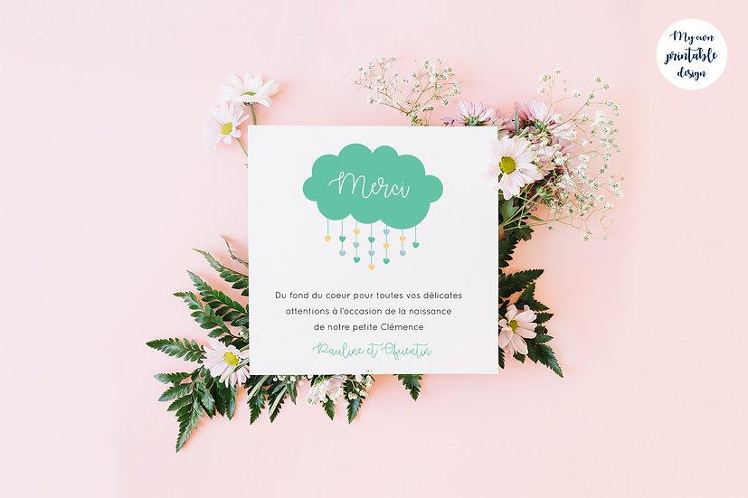 Carte de remerciement - Collection nuage - Fichier numérique