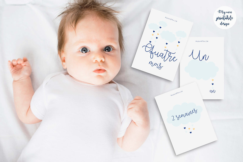 17 cartes étapes bébé - Collection Nuage bleu - Fichier numérique