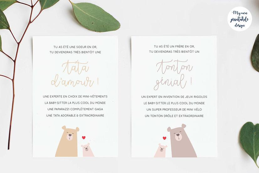 Duo cartes tata et tonton - Collection petit ours - Fichier numérique