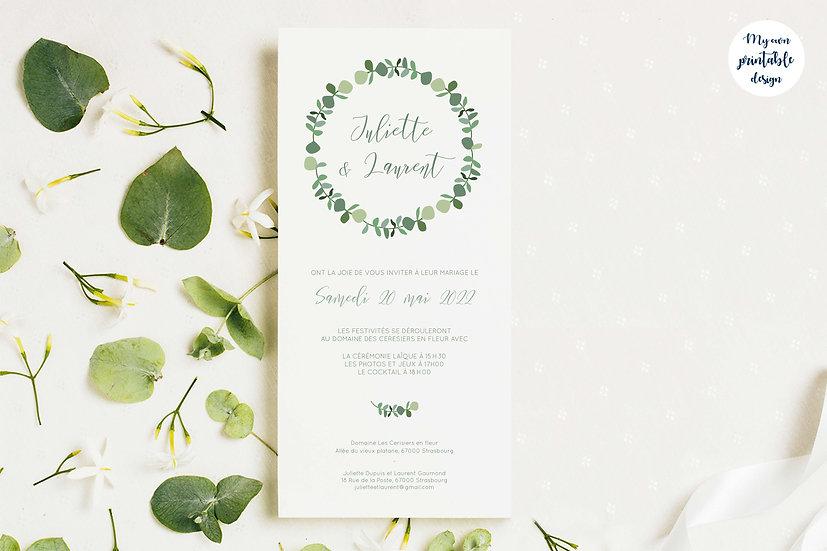Faire-part de mariage - Collection eucalyptus - Fichier numérique