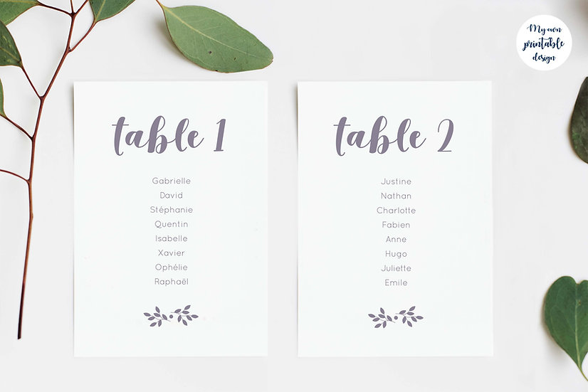 Plan de table - Collection monochrome - Fichier numérique