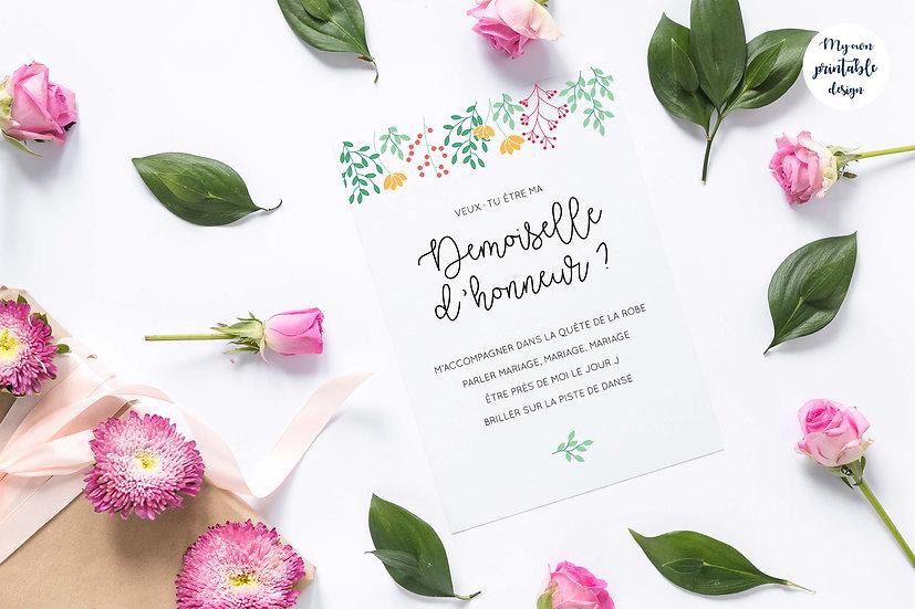 Carte demoiselle d'honneur - Collection printemps - Fichier numérique