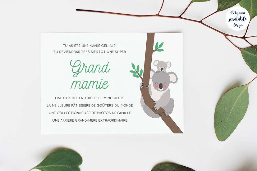 Carte annonce grossesse grand mamie - Collection koala - Fichier numérique