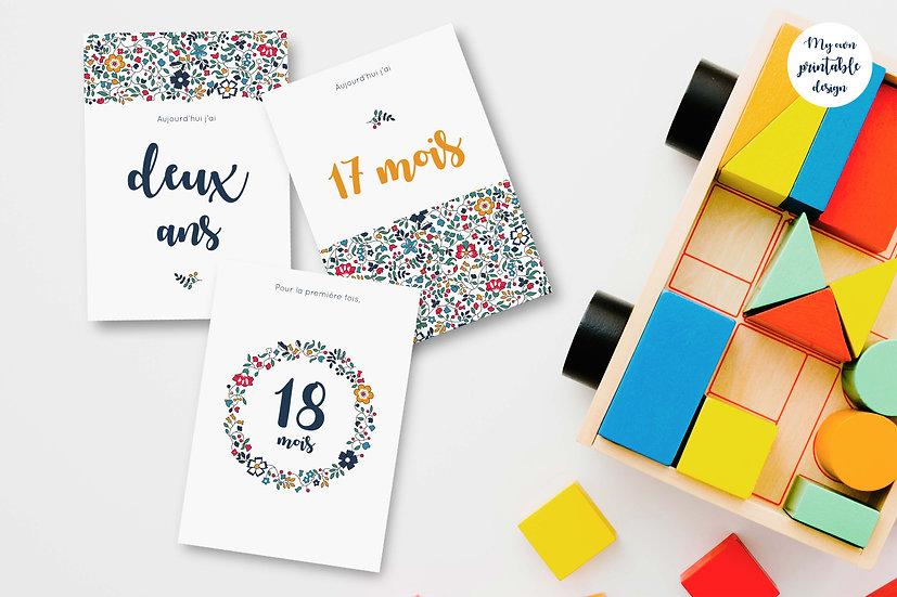 18 cartes étapes bébé 2ème année - Collection Liberty jaune - Fichier numérique