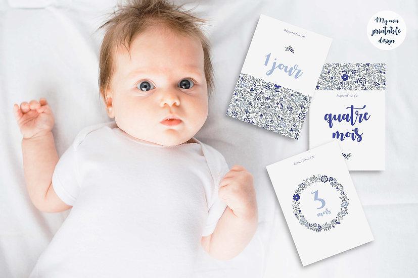 17 cartes étapes bébé 1ère année - Collection Liberty bleu - Fichier numérique