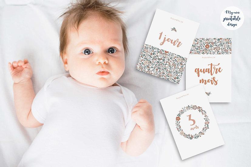 17 cartes étapes bébé 1ère année - Collection Liberty terracotta - Fichier n