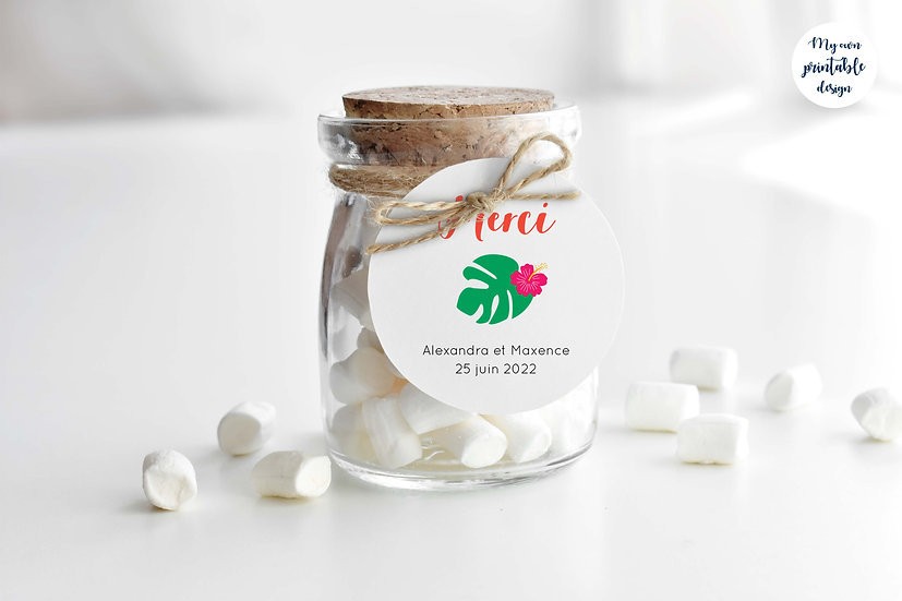 Logo et étiquette mariage - Collection exotisme - Fichier numérique