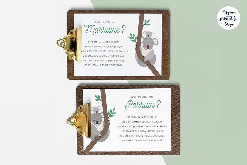 Duo cartes parrain et marraine - Collection exotisme - Fichier numérique