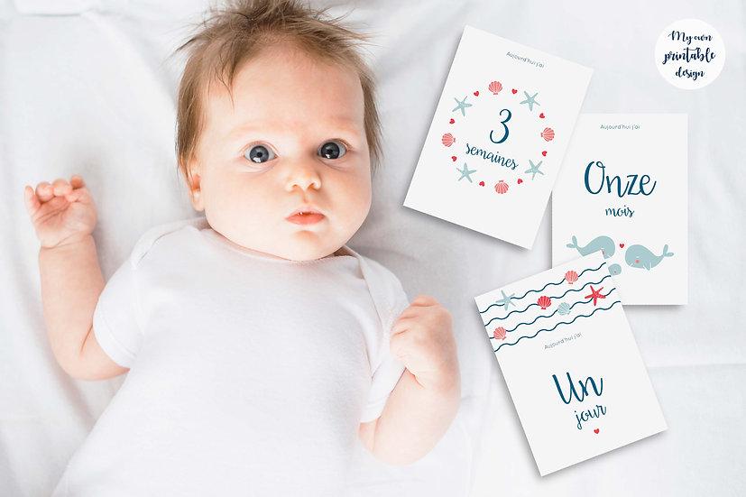17 cartes étapes bébé - Collection Baleine - Fichier numérique