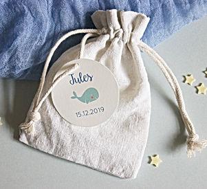 étiquette ronde 5cm naissance illustration baleine imprimable