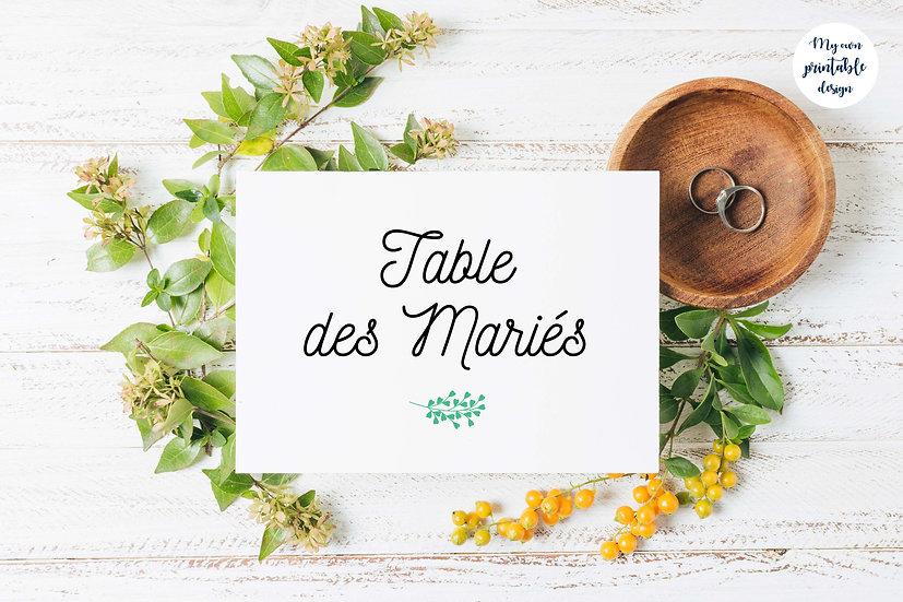 Marque table - Collection éternité - Fichier numérique