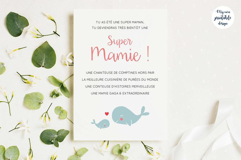 Carte annonce grossesse mamie - Collection baleine - Fichier numérique