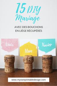 15 idées pour faire une décoration de mariage écolo avec des bouchons de champagne ou de vin en liège récupérés ! Des DIY simples et économiques pour les mariages éco-responsable et zéro déchet.