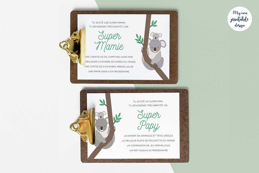 Duo cartes papy et mamie - Collection koala - Fichier numérique