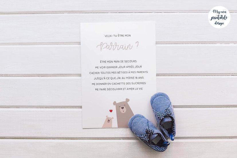 Carte parrain - Collection petit ours - Fichier numérique