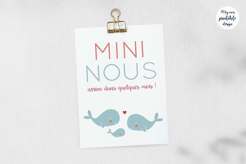 Carte annonce grossesse mini nous - Collection baleine - Fichier numérique