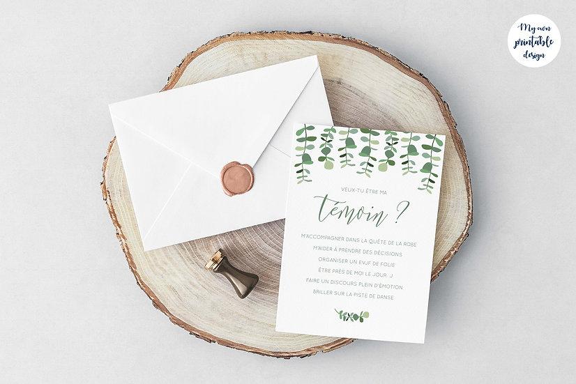 Carte témoin mariage - Collection eucalyptus - Fichier numérique