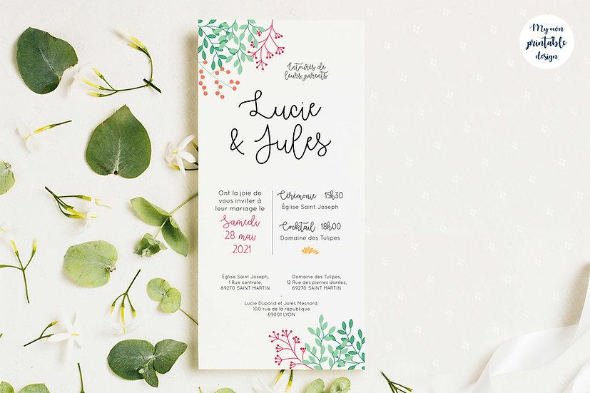 Faire-part de mariage - Collection printemps - Fichier numérique