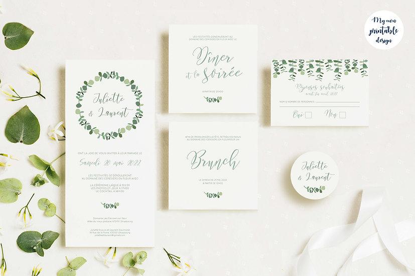 Pack faire-part de mariage - Collection eucalyptus - Fichier numérique