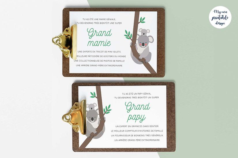 Duo cartes arrières grands parents - Collection koala - Fichier numérique