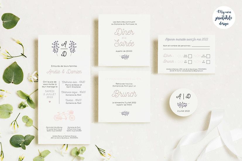 Pack faire-part de mariage - Collection éternité - Fichier numérique
