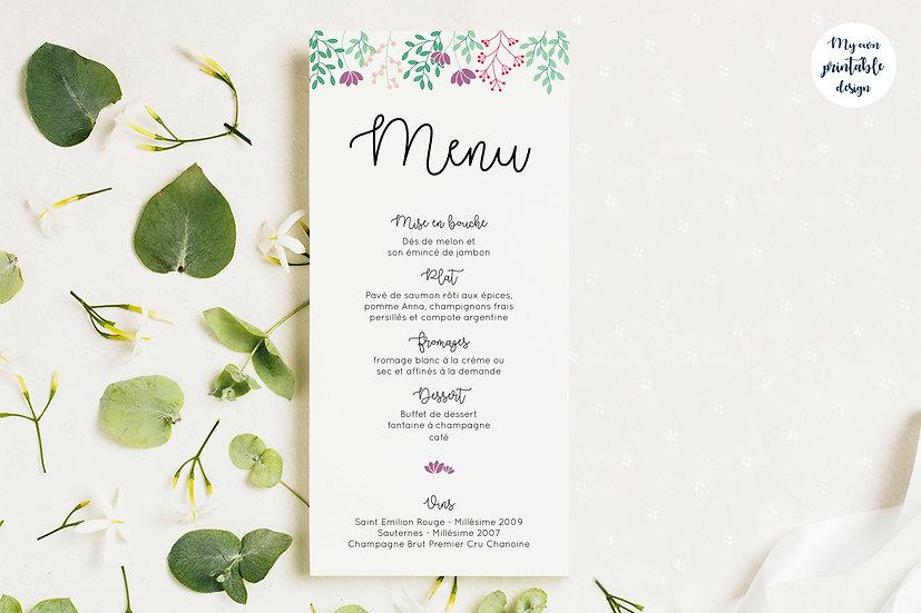 Menu mariage - Collection printemps - Fichier numérique