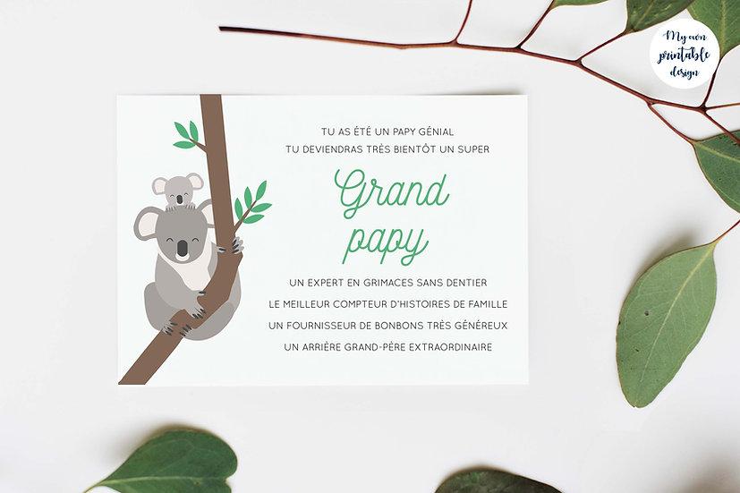 Carte annonce grossesse grand papy - Collection koala - Fichier numérique