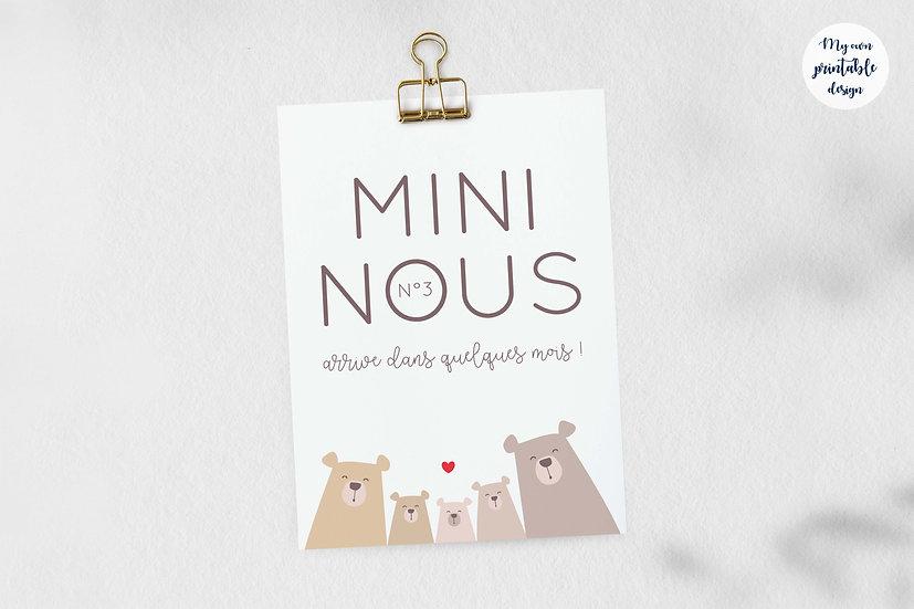 Carte annonce 3ème grossesse - Collection petit ours - Fichier numérique