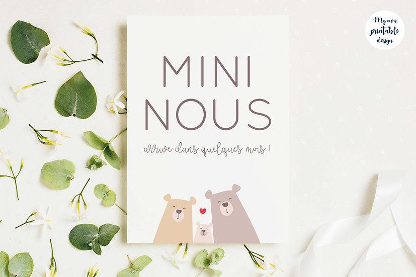 Carte annonce grossesse mini nous - Collection petit ours - Fichier numérique