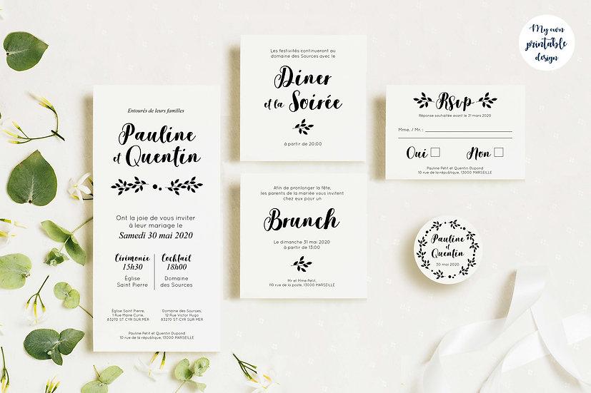 Pack faire-part de mariage - Collection monochrome - Fichier numérique