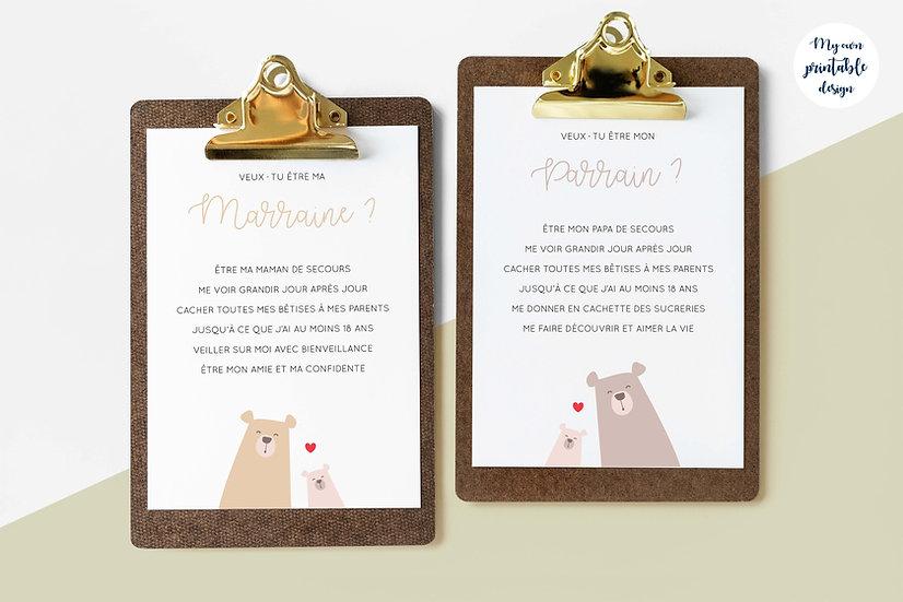 Duo cartes parrain et marraine - Collection petit ours - Fichier numérique