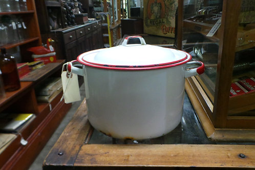 Vintage White & Red Enamelware Stock Pot With Lid