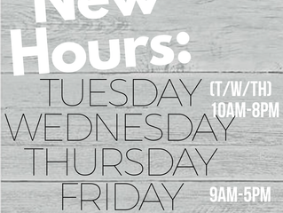 Our hours are changing!