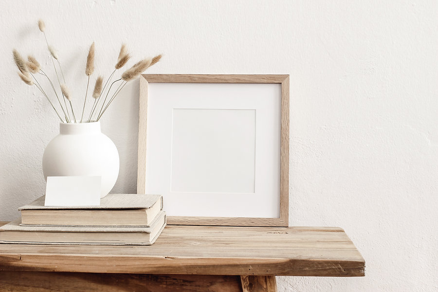 Square wooden frame mockup on vintage be