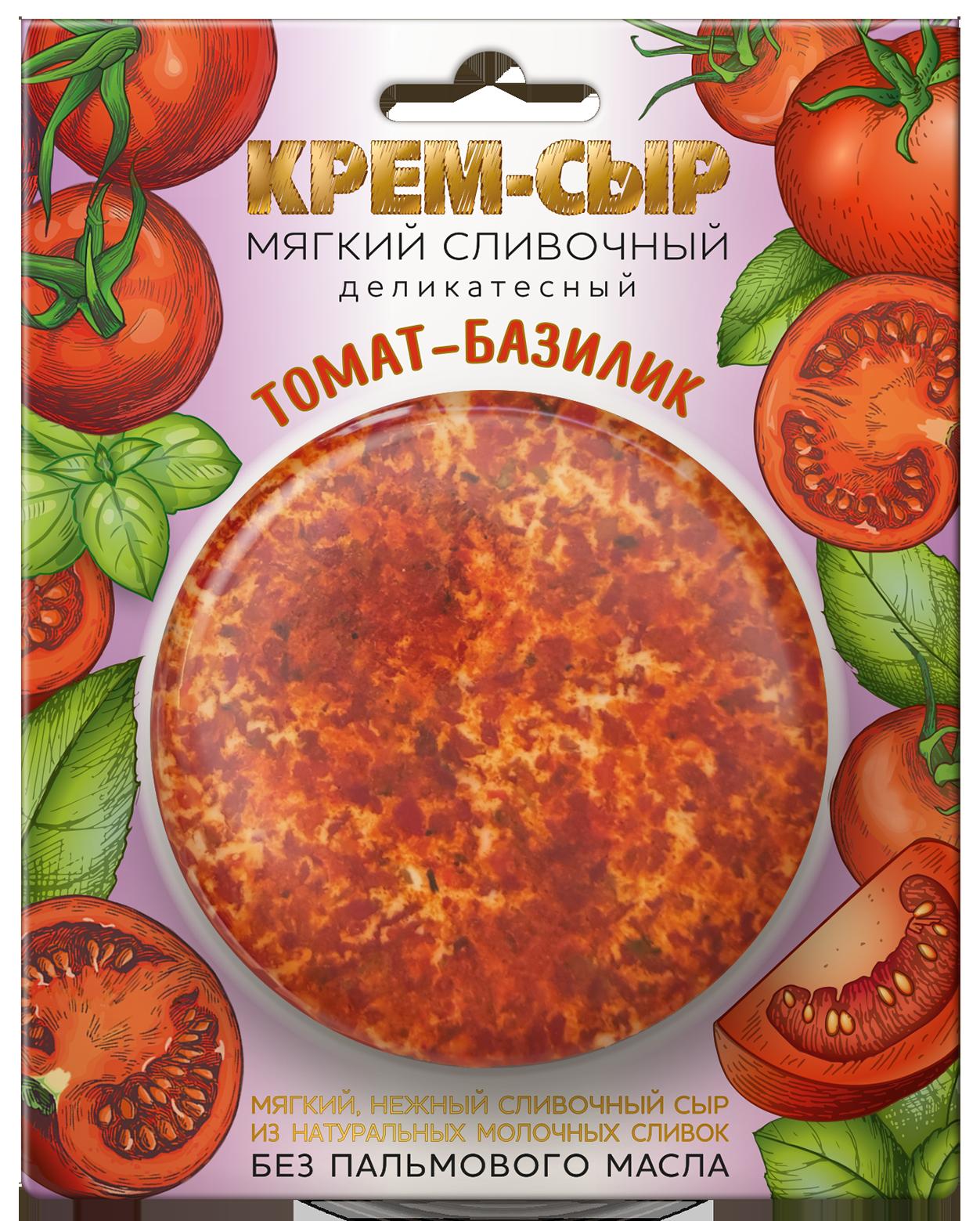 """Сыр мягкий сливочный """"ТОМАТ - БАЗИЛИК"""" 120г"""