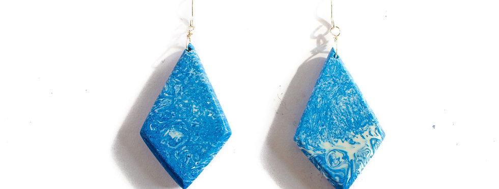 Blue/White Resin Diamond Drop
