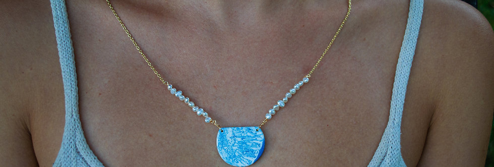 Blue/White Pearl Necklace