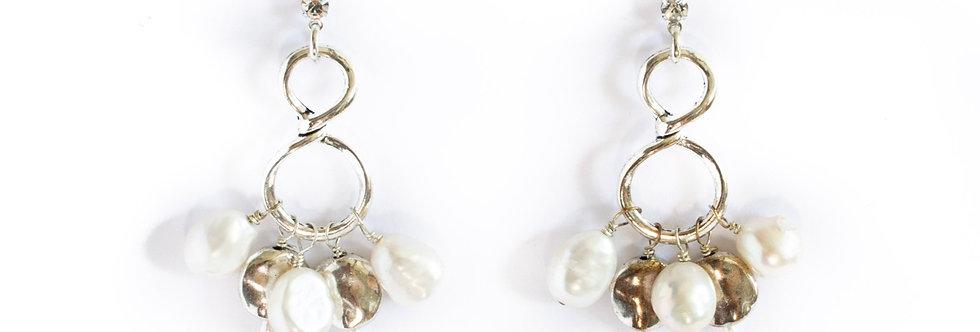 Silver/Freshwater Pearl Infinity Dangle