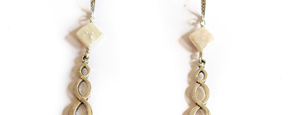 Freshwater Pearl Sterling Silver Infinity Drop