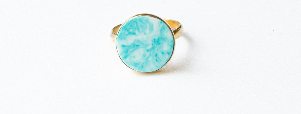 Turquoise Gold Ring Size 7.5