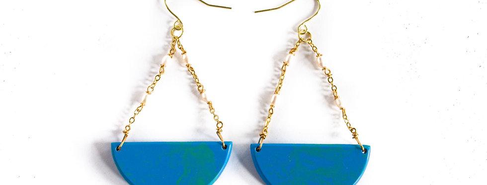 Blue/Turquoise Half Circle Pearl Drop