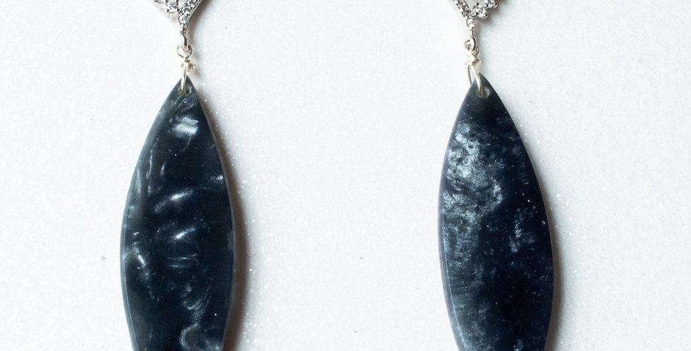 Cubic Zirconia Black Shimmer Drop