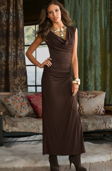 Brown Cowel Dress
