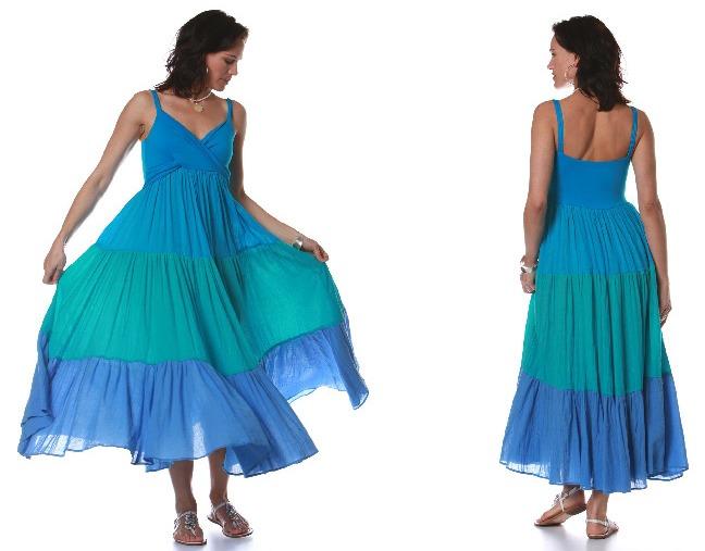 Tri-tone Gauze Island Dress